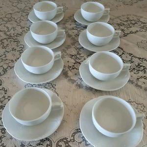 Classic Rose Rosenthal White Teacup & Saucer Set 8